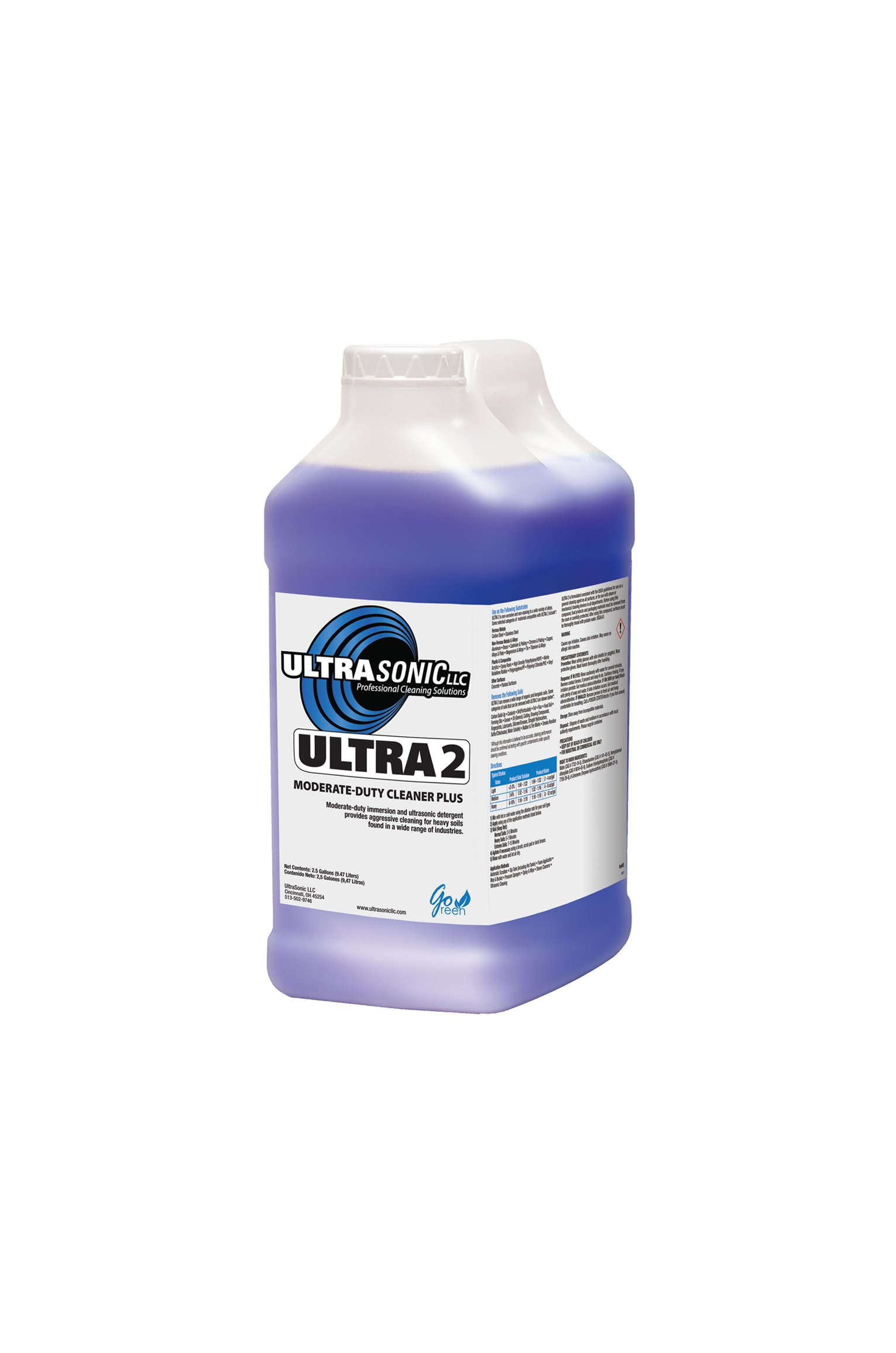 Ultra 2 Moderate Duty Ultrasonic Detergent - 2.5 Gallons